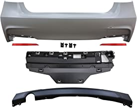 Rear Bumper Cover Compatible With 2012-2018 BMW F30 | 3 Series M-Tech M Sport Rear Bumper Conversion Diffuser Single Outlet by IKON MOTORSPORTS | 2013 2014 2015 2016