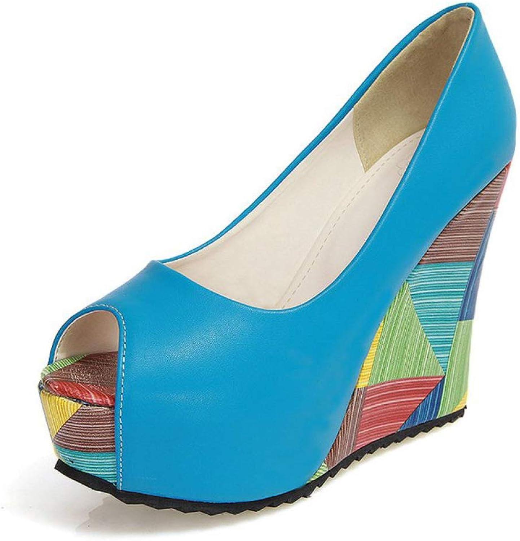 JOYBI Women's Platform Wedge Sandals Peep Toe Waterproof Outsole PU Leather Comfy Slip On Loafer shoes