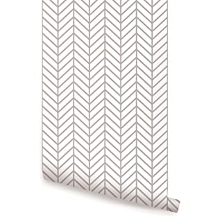 Herringbone Line Wallpaper - Warm Grey - 2 ft x 4 ft - Single - by Simple Shapes