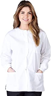 Natural Uniforms Women's Warm Up Jacket Medical Scrub Jacket (XS to 5XL) (X-Large, White)
