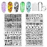 Biutee Nail Stamping Plates 10pcs Templates with stamper Nail Art Plates set animal flower Christmas halloween design