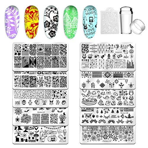 Biutee Nail Stamping Plates 10pcs Templates with stamper Nail Art Plates set animal flower Christmas halloween design