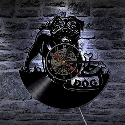 ZZLLL Mops Hund Wanduhr Vintage Welpen Wandkunst Kinderzimmer Wandbild Vinyl Schallplattenuhr Englische Bulldogge Uhr Hunderasse Geschenk Hundeliebhaber -Mit...