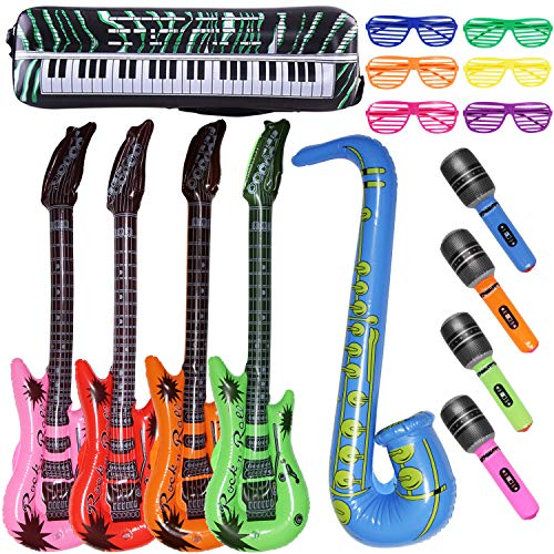 Joliyoou Inflatable Rock Toy Set, Inflatable Rock Star Toy Set - 18 Pack Inflatable Party Props, Inflatable Music Instruments for Kids