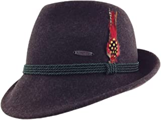 Austrian & German Style Alpine Tyrolean Wool Hat with Feather & Rope by E.H.G.