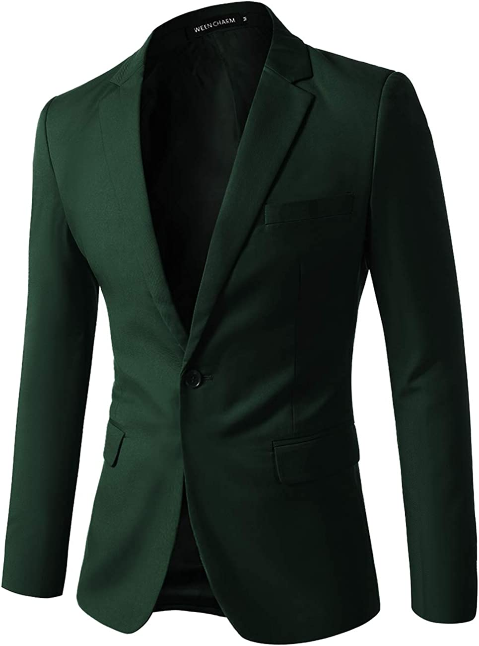 WEEN CHARM Men Casual Blazer Jacket Button New mail order Time sale Su Fit Slim One Solid