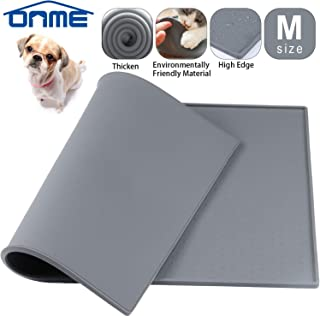 ONME Dog Feeding Mat, Silicone Waterproof Pet Food Mat, Non Slip Dog Bowl Placemat [ 18.5 11.8 in & 23.615.7in ]