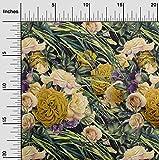 oneOone Georgette Di Viscosa Tessuto foglie & Rose Floreale Cucire Lavori Di Bricolage Stampe Tessuto Per Metro 42 Largo Pollici