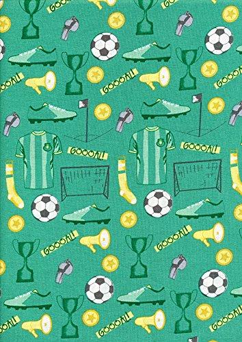 Green Goal Main - Funda de edredón de tela de porcelana para cama de fútbol, diseño de porcelana de fútbol, de 1/2 m de ancho, de 100% algodón
