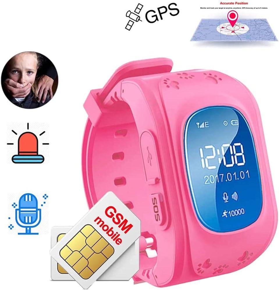 Reloj De Pulsera Inteligente Con Rastreador De Niños Con GPS, Reloj Inteligente A Prueba De Agua Para Niños Para Niños Con Botón SOS Localizador De Reloj Con GPS Q50 Para Ios Y Android,Rosado