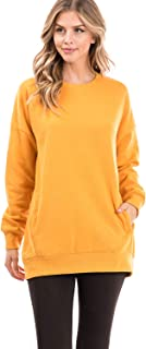Women's Oversized Fleece Lined Casual Round Neck and V-Neck Tunic Pullover Sweatshirts