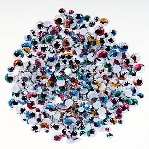 Creation Station Vackelöglor med ögonfransar i olika färger och storlekar, 100 stycken