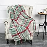 G Lake Green Red Plaid Blanket Throw Acrylic Soft Reversible Dyed Fringed Bed Blanket for Christmas Indoor Decorations 50' W x 67' L -Christmas Color