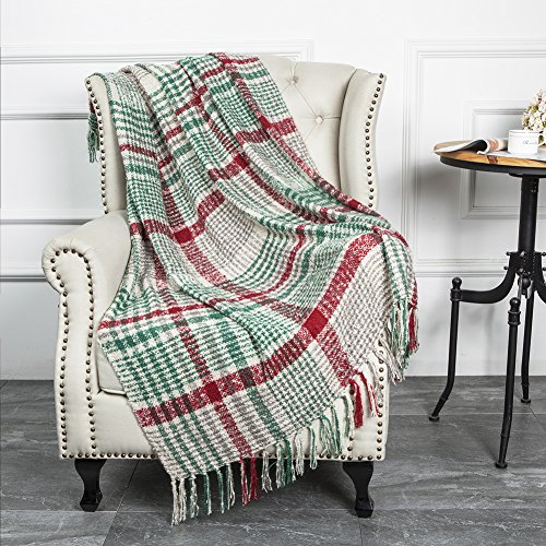 "LALIFIT Christmas Home Decor Super Soft Vintage Fluffy Plaid Throw Blanket-100% Acrylic Cashmere-like- Bedspread Picnic Tailgate Stadium RV Camping Blanket Throw with Fringe,50"" W x 67"" L (Green/Red)"