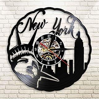 GYJCD New York Skyline Vintage Vinyl Record Reloj De Pared NYC Estatua De La Libertad Freedom Wall Art America Travel Gift...
