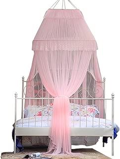 Dôme plafond Rose Tulle moustiquaire ciel de lit, Double Rideau fermé moustique-Rose Queen1