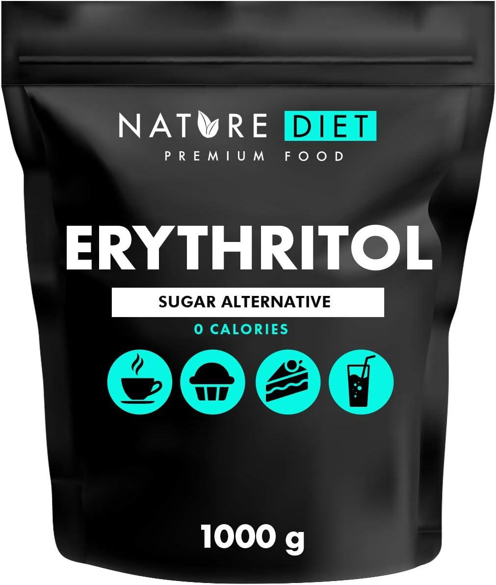 Nature Diet - Eritritol 1000g | Edulcorante natural | Cero calorías | Reemplazo de azúcar | Sustituto de azúcar