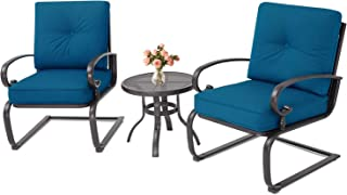 Incbruce Outdoor Indoor 3Pcs Bistro Set Spring Metal Action Lounge Cushioned Chairs and Bistro Round Table Set, Wrought Iron Cafe Furniture Conversation Set,Peacock Blue