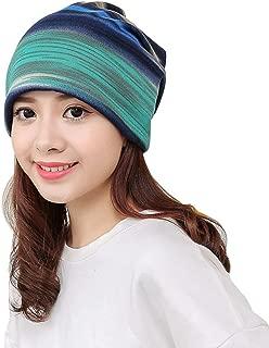 MIS1950s 2-in-1 Multi-Functional Stripe Beanie Hat, Ruffle Scarf, Turban,Head Wrap Cap,Lightweight Fashion Scarves for Women