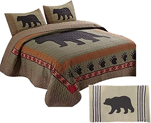 4pc Country Cabin Southwest Lodge Style BLACK BEAR PAW King Size Quilt Set 24 X36 ACCENT RUG Rustic Wildlife Theme Animal Print With Southwestern Aztec Accents Comforter