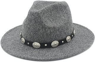 Hats and Caps Men's Women's Winter Autumn Fedora Hat Cap with DIY Punk Belt (Color : Tan, Size : 57-58cm)