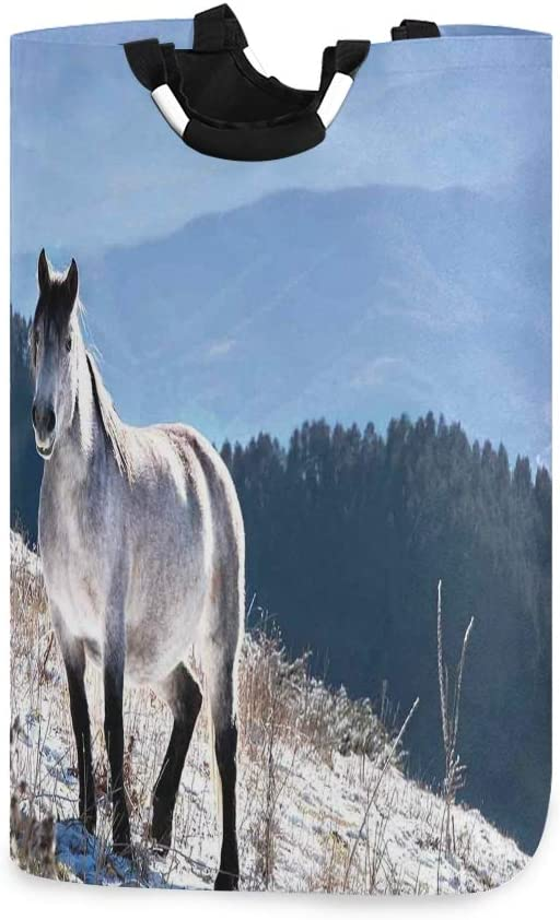 ADONINELP Laundry Bag Horse On Snowy Noble A Mountains Wild Body Discount is also Bargain sale underway