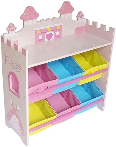 preferente Kiddi Style Cajas Almacenaje Juguetes Castillo de de de Princesas – 6 Contenedores  - Madera - para Niños  ahorrar en el despacho