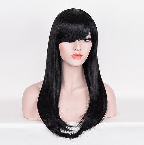 HAOBAO Perruque pour Cheveux féminin Long Straight Hair Perruque résistant à la Chaleur pour Costume Costume Cosplay (Noir)
