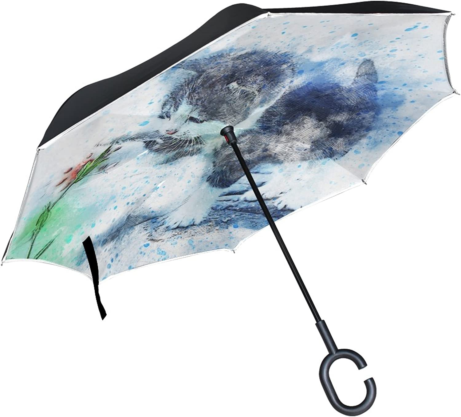 Double Layer Ingreened Cat Kitty Animal Art Abstract Watercolor Vintage Umbrellas Reverse Folding Umbrella Windproof Uv Predection Big Straight Umbrella for Car Rain Outdoor with CShaped Handle