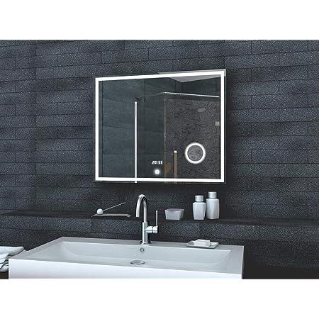 Badspiegel mit LED Beleuchtung TOUCH SENSOR LED UHR MAKEUP SPIEGEL MIT LED L80