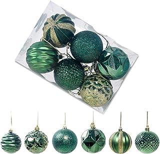 Starvido 12Piezas Bolas de Navidad de 6cm, Adornos Navideños para Arbol, Decoración de Bolas de Navidad Plástico de Verde, Regalos de Colgantes de Navidad