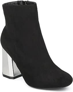 Alrisco Women Faux Suede Metallic Angled Block Heel Bootie HF35