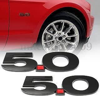 Auggies Pair 5.0 Door Fender Side Emblem Badge Plate Self- Adhesive For Mustang GT 5.0 Emblem (Matte Black)