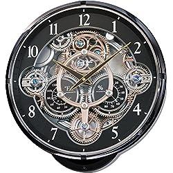 Rhythm Clocks Gadget Magic Motion Clock, Black