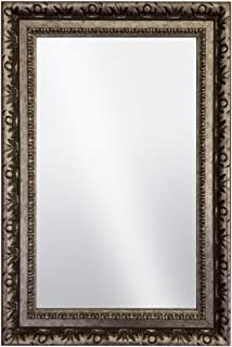 Raphael Rozen Hanging Framed Wall Mounted Mirror Vintage Antique Silver Brass Colored with Carvings for Bathroom, Vanity, Living Room, Dining Room, Kitchen, Bedroom, Office (35.5x45.5)
