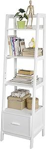 SoBuy Estanteriá en Escalera de Madera, Estanterías Librerias, Estanterias de Diseño, FRG116-K-W, ES