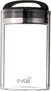 Prepara Evak Fresh Saver Airless Canister, Glass & Stainless, Medium, Soft Touch Black Handle