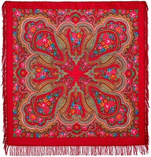 Original groß Lang Damen Russischer Pawlow Posad Rot Schal Tuch Umschlagtuch 100% Wolle, mit Paisley und Blumen, mit Wollfransen hochwertige Stola - sehr hohe Qualität 146cm x 146cm