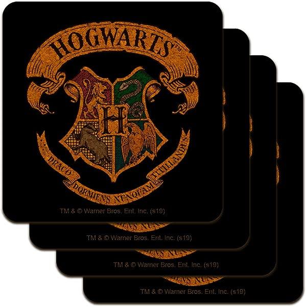 Harry Potter Ilustrated Hogwart S Crest Low Profile Novelty Cork Coaster Set