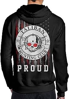 THEBUONUINV Proud American Flag Taliban Hunting Club Men's Hoodie Hooded Sweatshirt