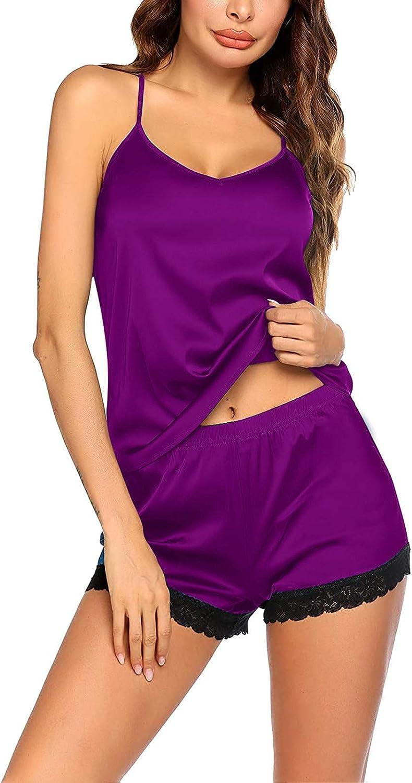 Forwelly Women's Lace Trim 2 Piece Pajamas Set V Neck Cami and Shorts Nightwear Lingerie Sexy Sleepwear