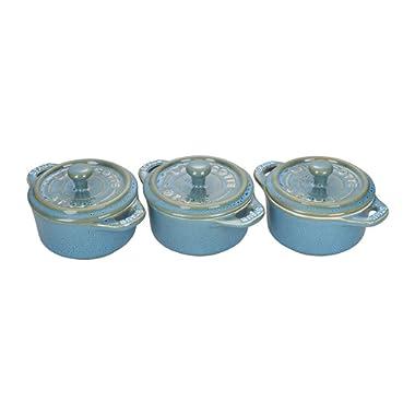 STAUB Ceramics Mini Round Cocotte Set, 3-piece, Rustic Turquoise