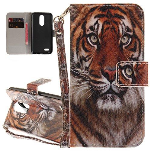 ISAKEN Compatibile con LG K4 2017 Custodia, Bookstyle Wallet Cover Flip Portafoglio Anti Slip Case Antiurto in Pelle PU con Supporto di Stand/Strap/Carte Slot/Chiusura - Tigre