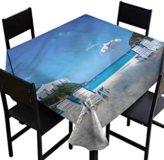 home1love Seaside Anti-Fading Tablecloths Seaside Hills Sandy Beach Table Cover for Dining 70 x 70 Inch
