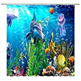 Blue Ocean Underwater Scene Dolphin and Plant Shower Curtain,Cartoon Sea Animal Jellyfish Coral Reef and Tropical Fish Fabric Bathroom Decor Sets with 12 Hooks,71X71 Inchs,Blue Green