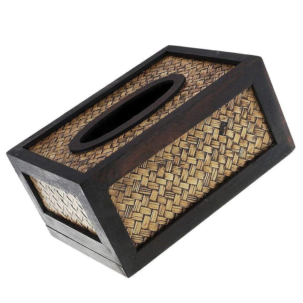 作詞家解釈的荒れ地XLEVE 装飾的な編まれた黒い海草の詰め替え式のティッシュペーパー&ナプキンホルダーボックスのふた