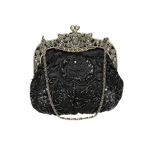 ILISHOP Women s Antique Beaded Party Clutch Vintage Rose Purse Evening  Handbag 12c1e5a23c