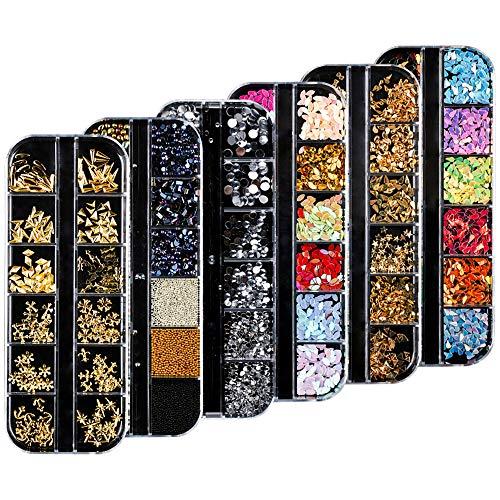 Gobesty Kit de diamantes de imitación de arte de uñas, 6 cajas Decoración de gemas traseras con cristales de uñas Piedras de diamante de imitación