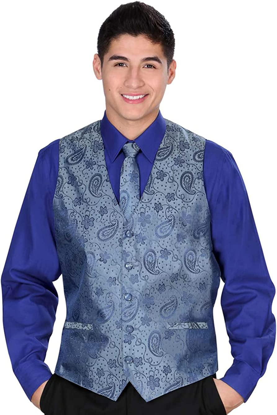 El General Men's Formal Dress Vest Color Blue 100% Polyester Five Button Paisley
