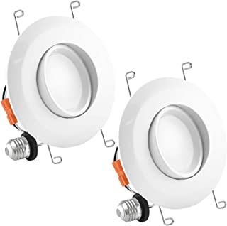 Luxrite 5/6 Inch Gimbal LED Recessed Light, 15W, 5000K Bright White, Dimmable LED Downlight, 1060 Lumens, Energy Star & ETL Listed, CRI 90, Damp Location - Adjustable Recessed Lighting (2 Pack)